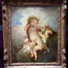 Arte: OLEO ORIGINAL ATRIBUIDO A JEAN-HONORE FRAGONARD SIGLO XVIII, 3 CUPIDOS CON GUIRNALDAS. Lote 97468371