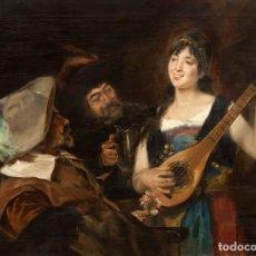 Arte: JOAN BRULL VINYOLES (1863-1912) ESCENA COSTUMBRISTA - ÓLEO LIENZO. Lote 97576591