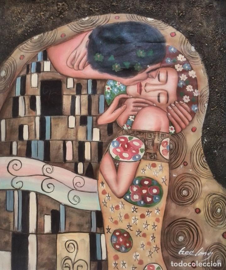 gustav klimt, el beso. copia en lienzo por gree - Comprar Pintura al ...