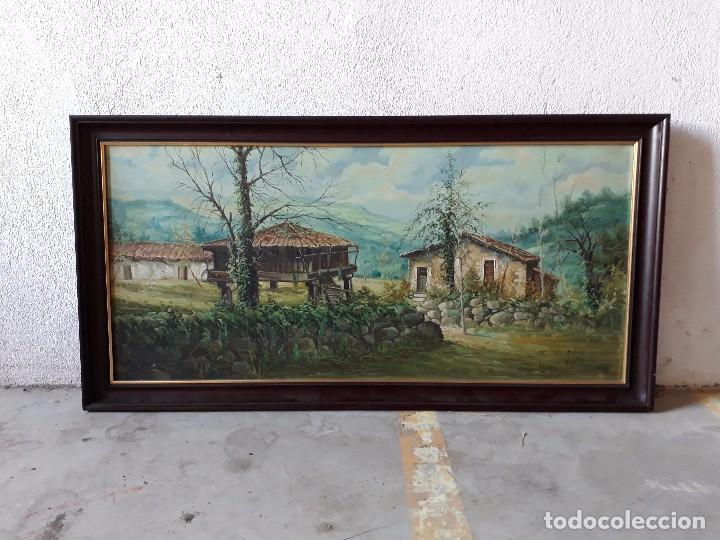 CUADRO GRAN TAMAÑO PINTURA OLEO SOBRE LIENZO PAISAJE PUEBLO GALLEGO GALICIA PINTOR F. SANCHÍS 1977 (Arte - Pintura - Pintura al Óleo Contemporánea )
