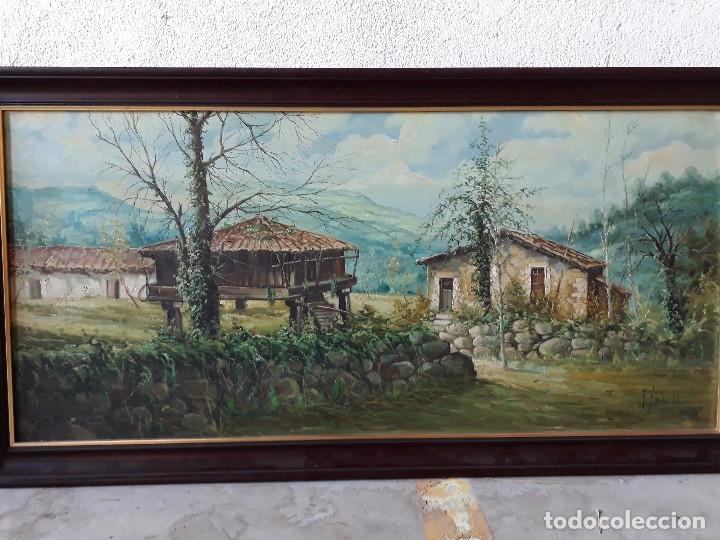 Arte: cuadro gran tamaño pintura oleo sobre lienzo paisaje pueblo gallego Galicia pintor F. Sanchís 1977 - Foto 2 - 97646999