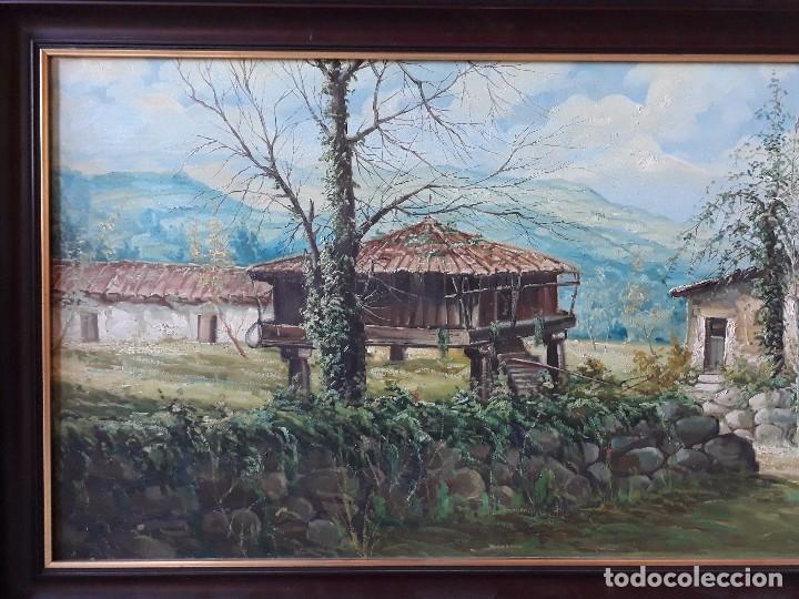 Arte: cuadro gran tamaño pintura oleo sobre lienzo paisaje pueblo gallego Galicia pintor F. Sanchís 1977 - Foto 3 - 97646999