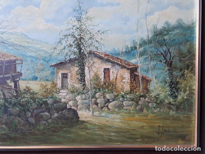 Arte: cuadro gran tamaño pintura oleo sobre lienzo paisaje pueblo gallego Galicia pintor F. Sanchís 1977 - Foto 4 - 97646999