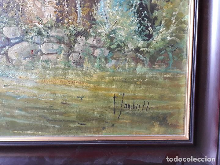 Arte: cuadro gran tamaño pintura oleo sobre lienzo paisaje pueblo gallego Galicia pintor F. Sanchís 1977 - Foto 5 - 97646999