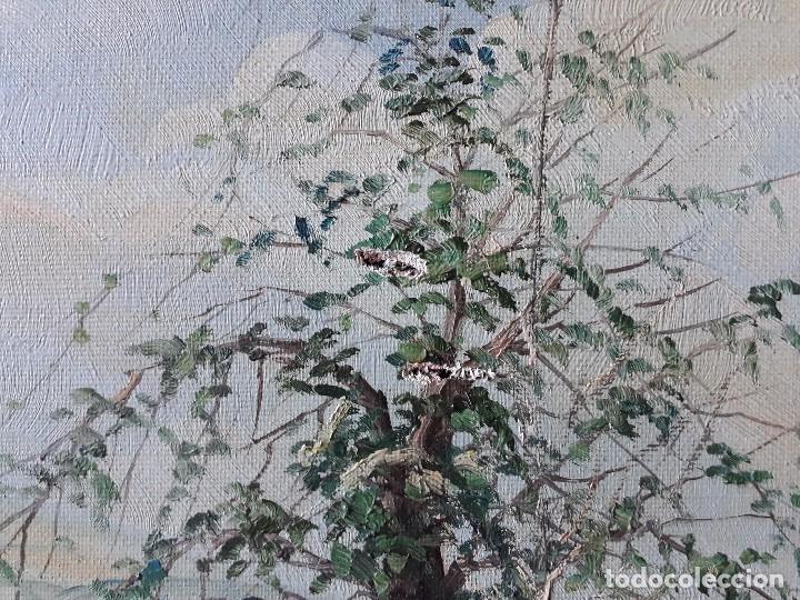 Arte: cuadro gran tamaño pintura oleo sobre lienzo paisaje pueblo gallego Galicia pintor F. Sanchís 1977 - Foto 6 - 97646999