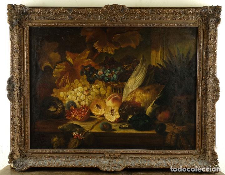Arte: Óleo sobre lienzo Bodegón frutas y naturaleza muerta principios siglo XX - Foto 2 - 180497210