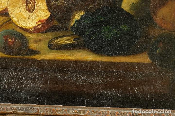 Arte: Óleo sobre lienzo Bodegón frutas y naturaleza muerta principios siglo XX - Foto 7 - 180497210