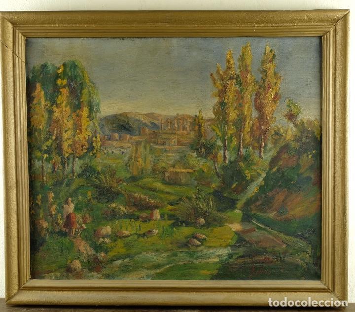 Arte: Óleo sobre lienzo Paisaje campo firmado Palau Mediados siglo XX - Foto 2 - 97785479