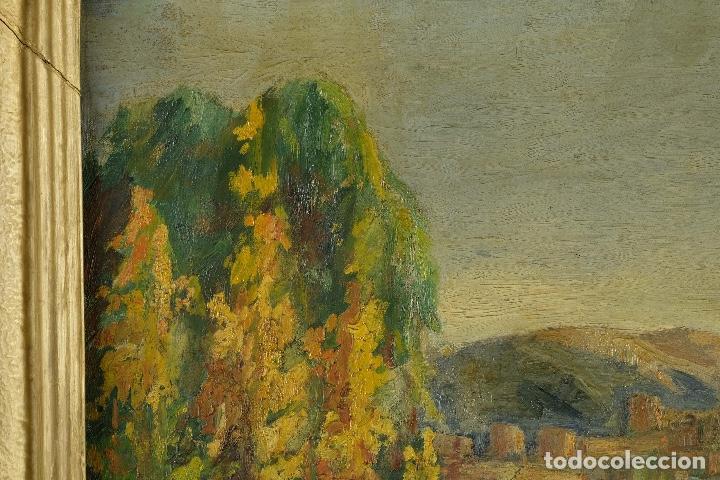 Arte: Óleo sobre lienzo Paisaje campo firmado Palau Mediados siglo XX - Foto 3 - 97785479