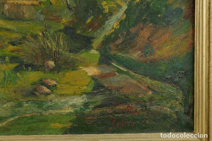 Arte: Óleo sobre lienzo Paisaje campo firmado Palau Mediados siglo XX - Foto 6 - 97785479