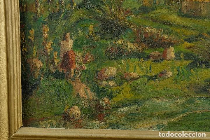Arte: Óleo sobre lienzo Paisaje campo firmado Palau Mediados siglo XX - Foto 7 - 97785479