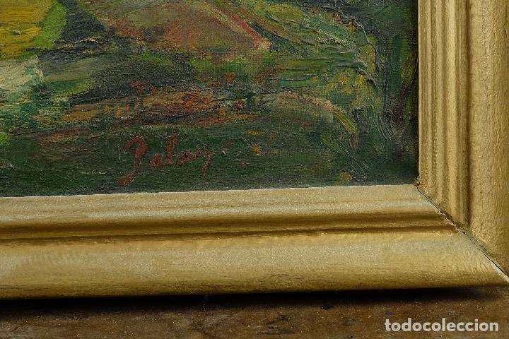 Arte: Óleo sobre lienzo Paisaje campo firmado Palau Mediados siglo XX - Foto 8 - 97785479