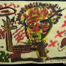 Arte: JEAN MICHEL BASQUIAT ARTISTA AMERICANO OLEO SOBRE PAPEL FIRMADA. Lote 97876255