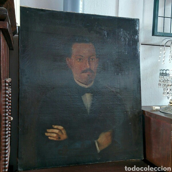 RETRATO OLEO SOBRE LIENZO PINTURA BASTIDOR EN MADERA (Arte - Pintura - Pintura al Óleo Moderna siglo XIX)
