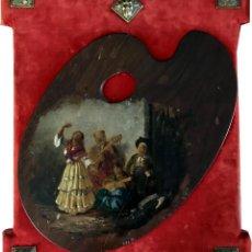 Arte: 1891 - PALETA DE PINTOR ENMARCADA - FIRMADA - MERCADÉ 1891 - ESCENA COSTUMBRISTA. Lote 98210571
