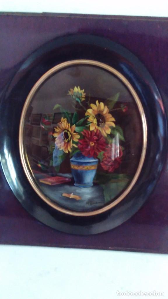 antiguo cuadro al óleo de florero con dalias y - Comprar Pintura al ...