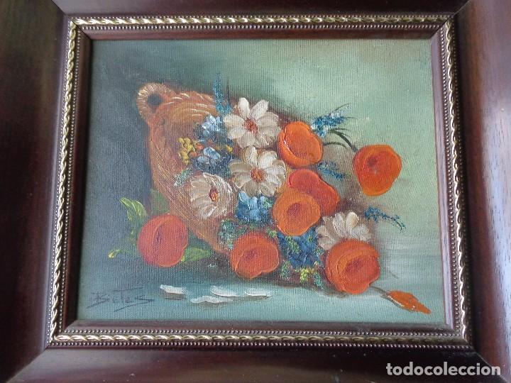 CUADRO OLEO - FLORES - PINTADO EN TELA CON FIRMA Y ENMARCADO (Arte - Pintura - Pintura al Óleo Contemporánea )