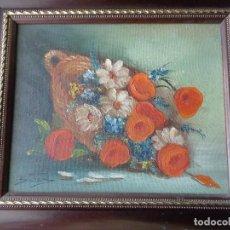 Arte: CUADRO OLEO - FLORES - PINTADO EN TELA CON FIRMA Y ENMARCADO. Lote 98476355