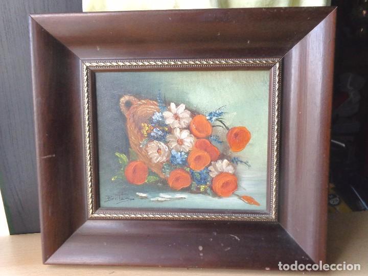Arte: CUADRO OLEO - FLORES - PINTADO EN TELA CON FIRMA Y ENMARCADO - Foto 2 - 98476355