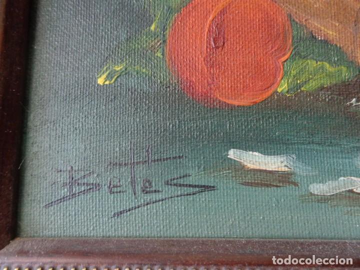 Arte: CUADRO OLEO - FLORES - PINTADO EN TELA CON FIRMA Y ENMARCADO - Foto 4 - 98476355