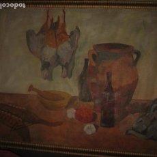 Arte: ANTIGUO CUADRO OLEO BODEGON GRANDES DIMENSIONES IDEAL PARA MESON RESTAURANTE COMIDAS. Lote 98721975