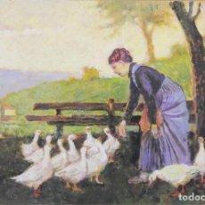 Arte: B3-038. CAMPESINA DANDO DE COMER. OLEO/TABLA. ITALIA. LUDOVICO TOMMASI 1866-1941. Lote 48224737