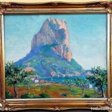Arte: PINTURA ESPAÑOLA CONTEMPORANEA, OLEO SOBRE TABLA,PEÑON DE IFACH,FIRMA V.OLIVER, CALPE,ALICANTE. Lote 98973919