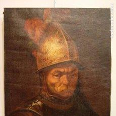 Arte: PINTURA GUERRERO. AÑO 1900. REPRODUCCIÓN DE EL HOMBRE CON EL CASCO DE ORO DE REMBRANDT. Lote 99021315