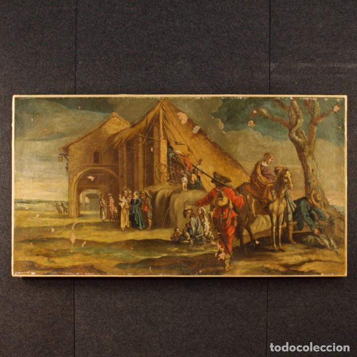 ANTIGUA PINTURA ITALIANA DE PAISAJE CON LOS PERSONAJES DEL SIGLO XVIII (Arte - Pintura - Pintura al Óleo Antigua siglo XVIII)