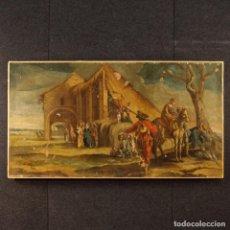 Arte: ANTIGUA PINTURA ITALIANA DE PAISAJE CON LOS PERSONAJES DEL SIGLO XVIII. Lote 99036503