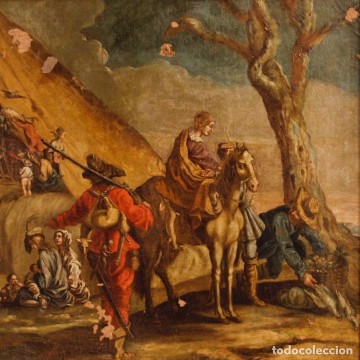 Arte: Antigua pintura italiana de paisaje con los personajes del siglo XVIII - Foto 2 - 99036503