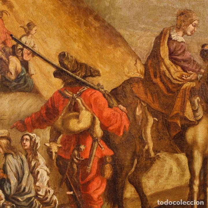 Arte: Antigua pintura italiana de paisaje con los personajes del siglo XVIII - Foto 3 - 99036503