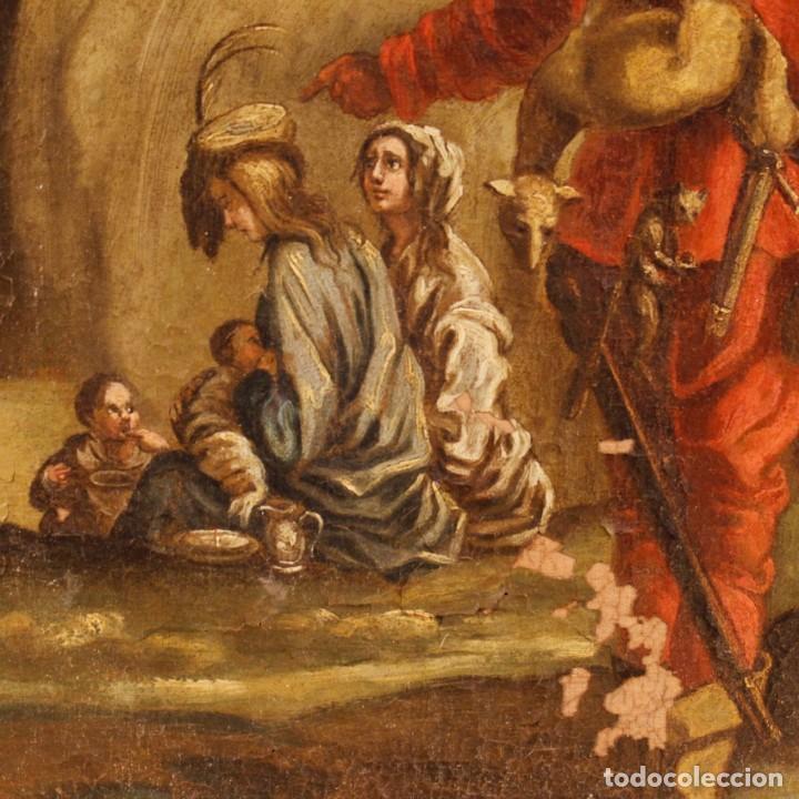Arte: Antigua pintura italiana de paisaje con los personajes del siglo XVIII - Foto 4 - 99036503