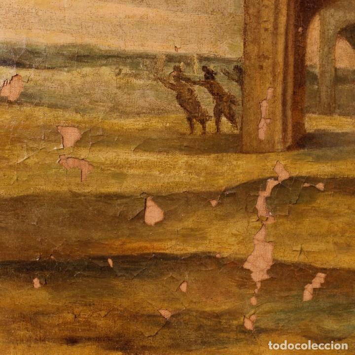 Arte: Antigua pintura italiana de paisaje con los personajes del siglo XVIII - Foto 5 - 99036503