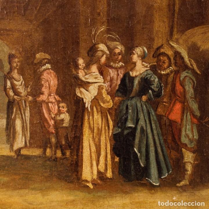 Arte: Antigua pintura italiana de paisaje con los personajes del siglo XVIII - Foto 6 - 99036503