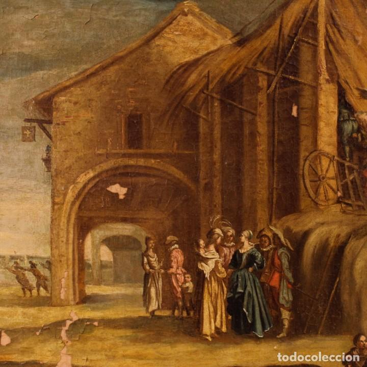 Arte: Antigua pintura italiana de paisaje con los personajes del siglo XVIII - Foto 8 - 99036503