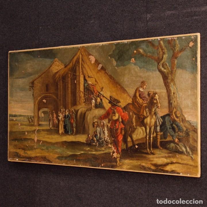 Arte: Antigua pintura italiana de paisaje con los personajes del siglo XVIII - Foto 12 - 99036503