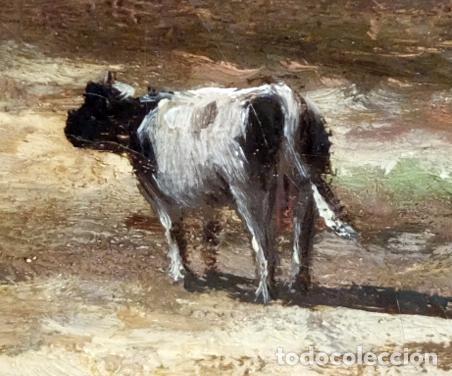 Arte: ESCUELA INGLESA DEL SIGLO XIX. OLEO SOBRE TELA. PAISAJE CON PASTO. 77 cm. x 127 cm. - Foto 2 - 99344283