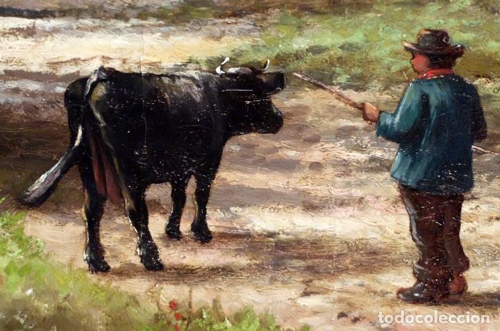 Arte: ESCUELA INGLESA DEL SIGLO XIX. OLEO SOBRE TELA. PAISAJE CON PASTO. 77 cm. x 127 cm. - Foto 3 - 99344283