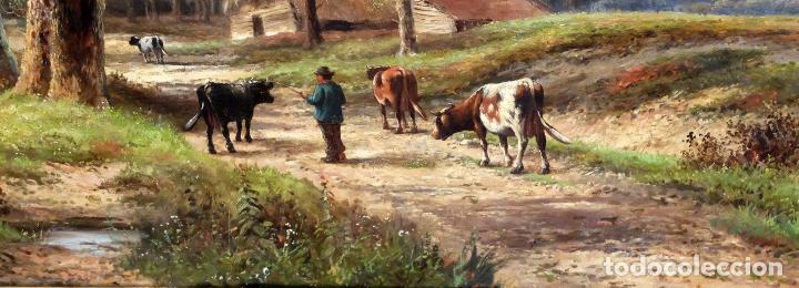 Arte: ESCUELA INGLESA DEL SIGLO XIX. OLEO SOBRE TELA. PAISAJE CON PASTO. 77 cm. x 127 cm. - Foto 5 - 99344283