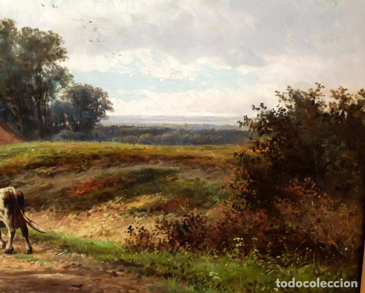Arte: ESCUELA INGLESA DEL SIGLO XIX. OLEO SOBRE TELA. PAISAJE CON PASTO. 77 cm. x 127 cm. - Foto 6 - 99344283