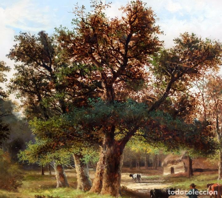 Arte: ESCUELA INGLESA DEL SIGLO XIX. OLEO SOBRE TELA. PAISAJE CON PASTO. 77 cm. x 127 cm. - Foto 7 - 99344283