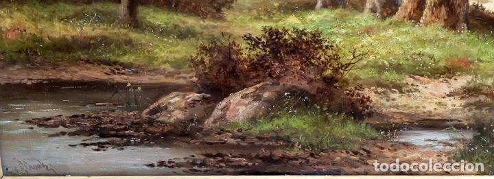 Arte: ESCUELA INGLESA DEL SIGLO XIX. OLEO SOBRE TELA. PAISAJE CON PASTO. 77 cm. x 127 cm. - Foto 8 - 99344283