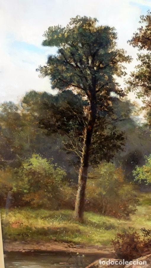 Arte: ESCUELA INGLESA DEL SIGLO XIX. OLEO SOBRE TELA. PAISAJE CON PASTO. 77 cm. x 127 cm. - Foto 9 - 99344283