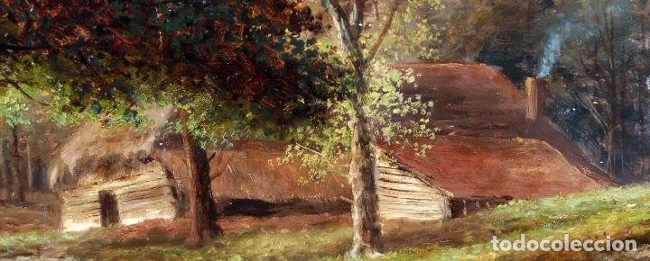 Arte: ESCUELA INGLESA DEL SIGLO XIX. OLEO SOBRE TELA. PAISAJE CON PASTO. 77 cm. x 127 cm. - Foto 10 - 99344283