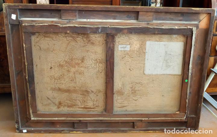 Arte: ESCUELA INGLESA DEL SIGLO XIX. OLEO SOBRE TELA. PAISAJE CON PASTO. 77 cm. x 127 cm. - Foto 12 - 99344283