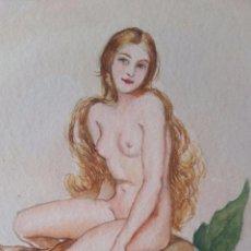 Arte: MUJER SOBRE FRUTA - BONITA ACUARELA - FIRMADA Y FECHADA - AUSTRIA. Lote 99349415