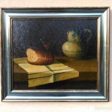 Arte: BODEGON DE JARRA, VINO Y PAN, FIRMADO. Lote 99353411
