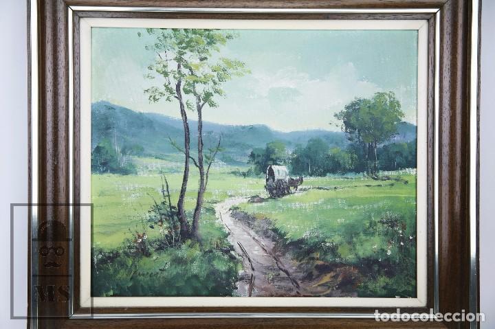 Arte: Pintura al Óleo Sobre Lienzo - Albert Junyent. Paisaje con Carreta - Primera Mitad S. XX - Foto 2 - 99530875