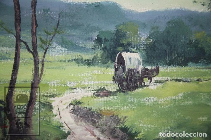 Arte: Pintura al Óleo Sobre Lienzo - Albert Junyent. Paisaje con Carreta - Primera Mitad S. XX - Foto 3 - 99530875